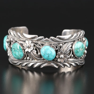 Southwestern Sterling Silver Turquoise Cuff with Floral Design