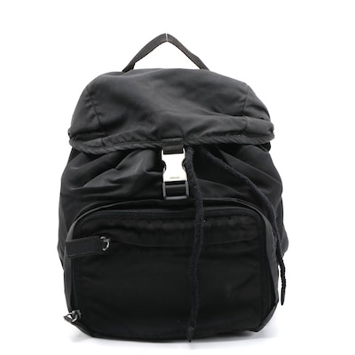 Prada Black Tessuto Nylon Drawstring Backpack