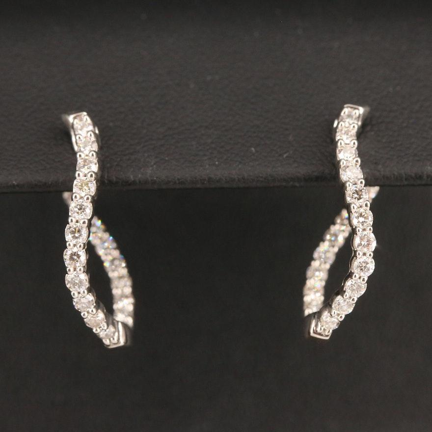 14K 1.00 CTW Diamond Inside-Out Hoop Earrings with Twist Design