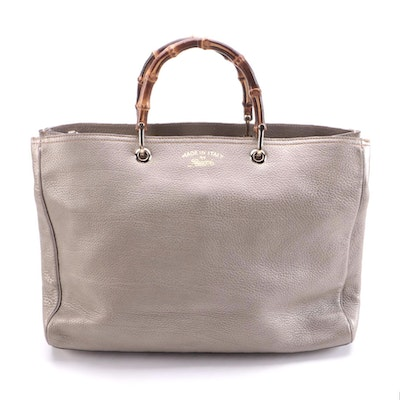 Gucci Bamboo Shopper Tote in Metallic Pebbled Leather