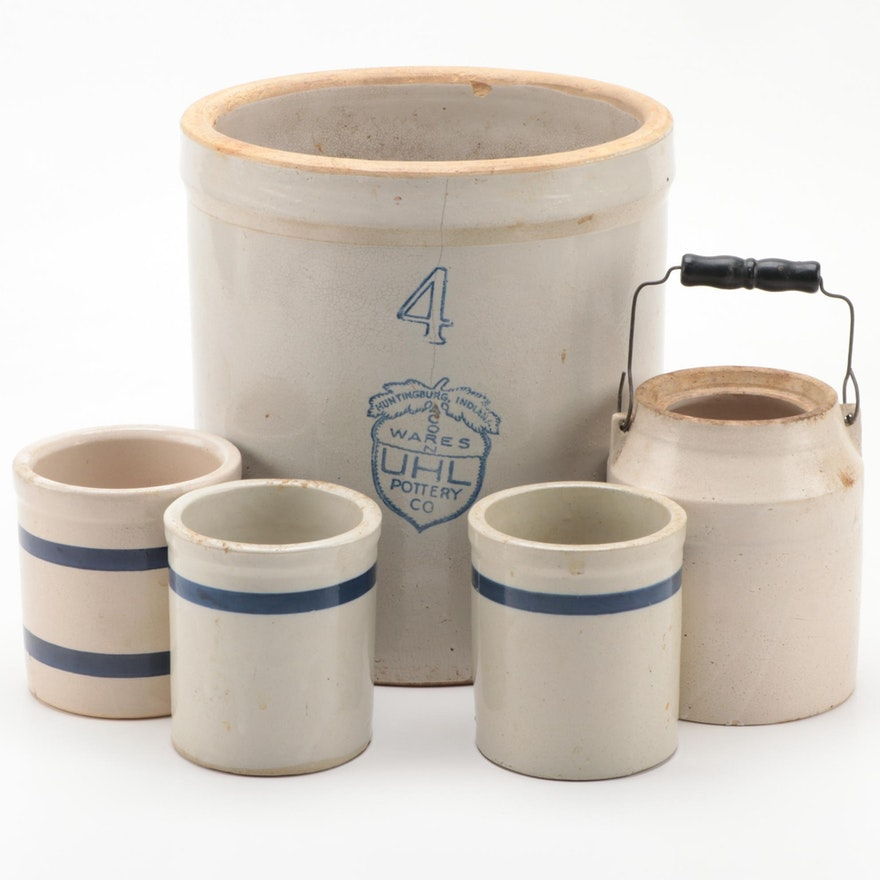 Four Gallon Uhl Pottery, and Other Stoneware Crocks, 20th Century