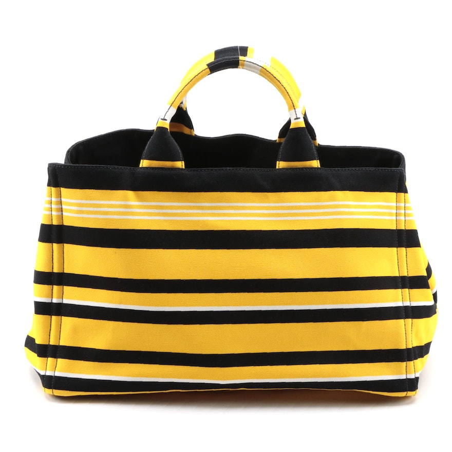 Prada Shopping Tote in Striped Yellow and Black Canapa Canvas