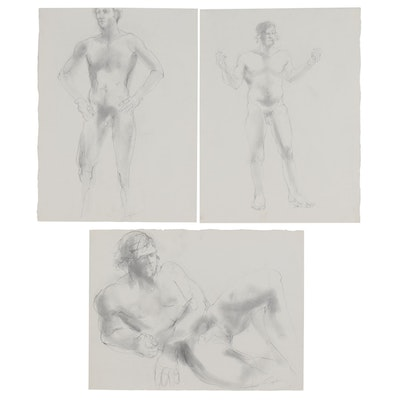 John Tuska Figural Charcoal Drawings, Late 20th Century