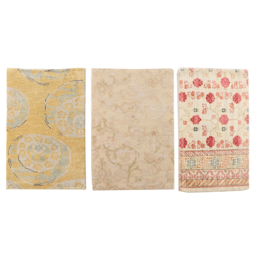 1'9 x 3'0 Hand-Knotted Chinese and Indian Wool Accent Rugs from The Rug Gallery