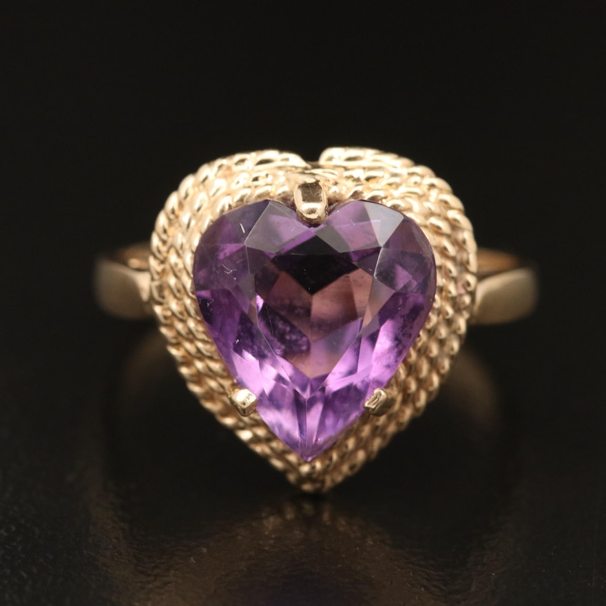 14K Amethyst Heart Ring with Rope Detail