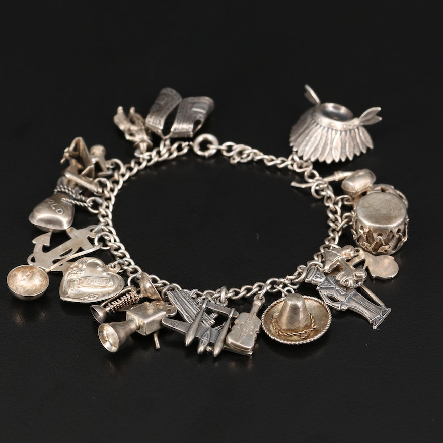 Vintage Sterling Charm Bracelet Including Headdress and Anchor Charms