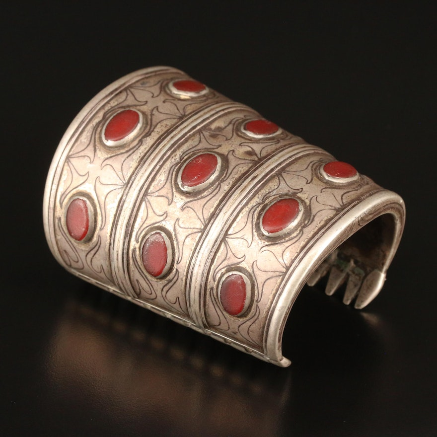 Central Asian 800 Silver Chalcedony Turkmen Cuff