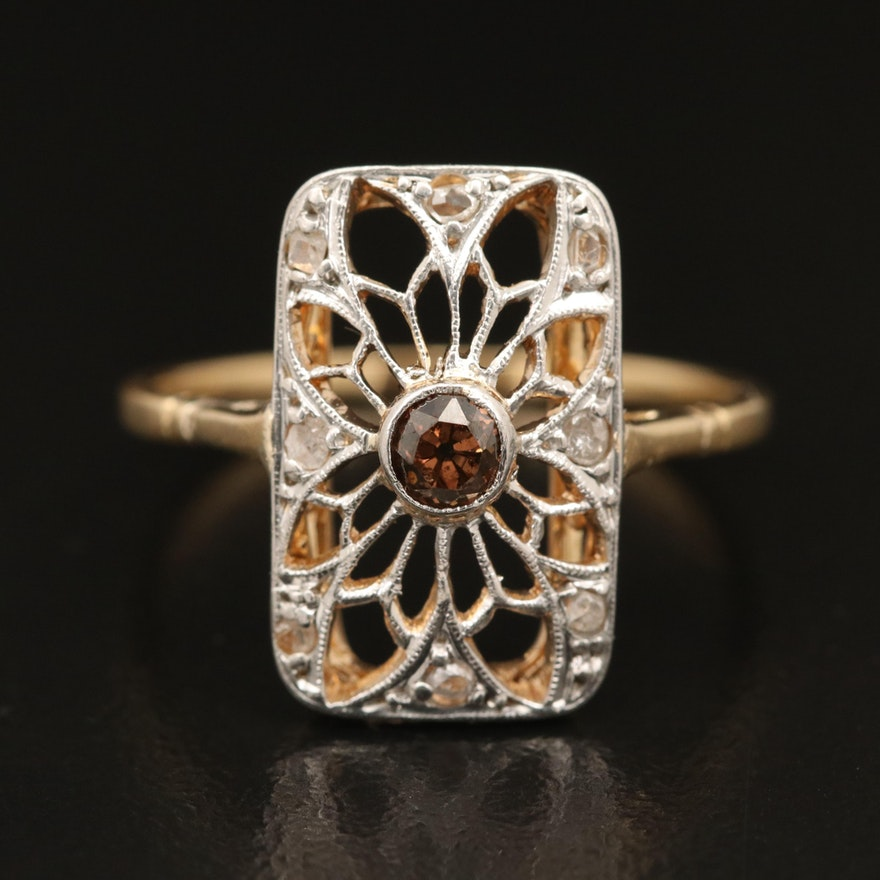 18K, Platinum and Diamond Openwork Ring