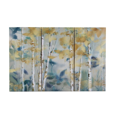Triptych Offset Lithographs of Birch Trees