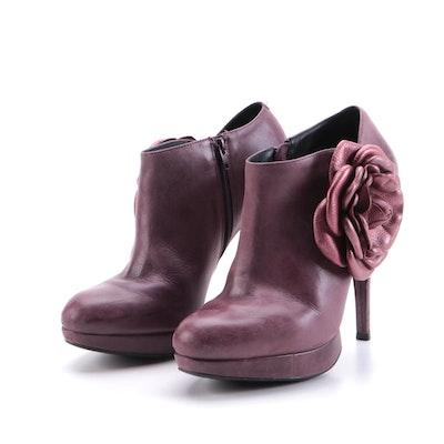 Kelsi Dagger Rosabella Platform Heels in Plum Leather with Metallic Flowers