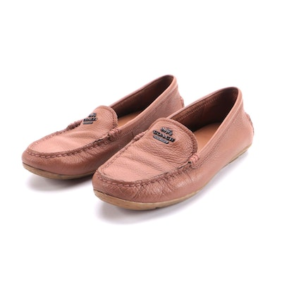 Coach Driving Shoes in Light Brown Grained Leather
