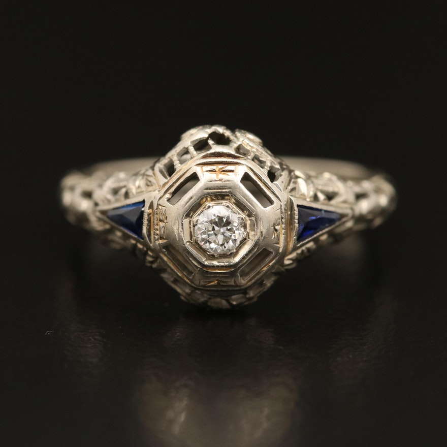 Art Deco 18K Diamond and Sapphire Ring