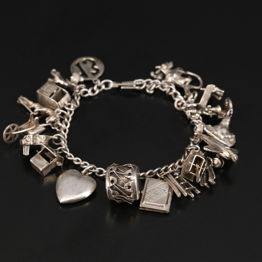 Vintage Sterling Charm Bracelet Featuring Cuckoo Clock, Wishing Well and More