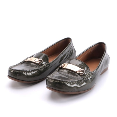 Coach Loafers in Olive Patent Leather