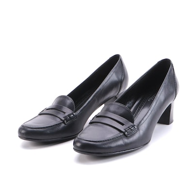 Brooks Brothers Penny Loafer Pumps in Black Leather