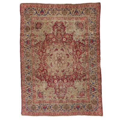 4'5 x 6'1 Hand-Knotted Persian Kerman Area Rug, 1890s