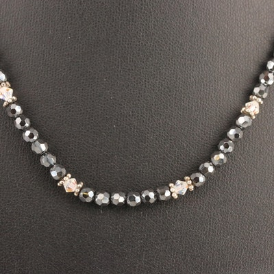 Sterling Silver Black Spinel and Rhinestone Bead Necklace