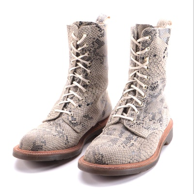 Dr. Martens Snake Print Leather Lace Up Boots