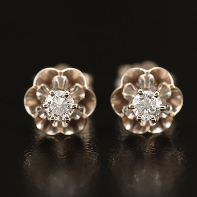14K Diamond Buttercup Set Stud Earrings