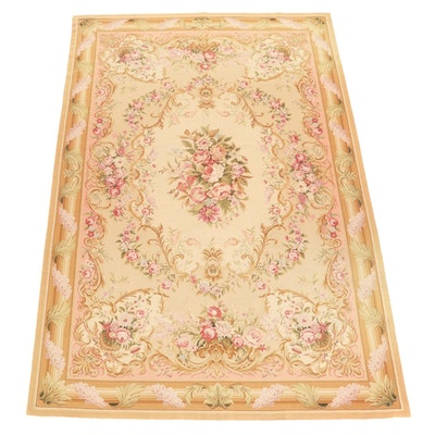 5'11 x 8'10 Handmade French Aubusson Style Needlepoint Area Rug