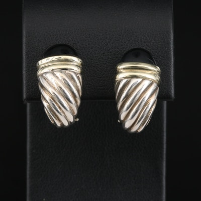 David Yurman Sterling Silver Onyx Cable Earrings with 14K Accents