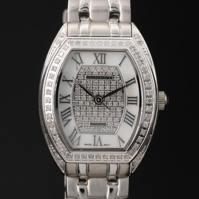 Diamond Croton Stainless Steel Quartz Wristwatch