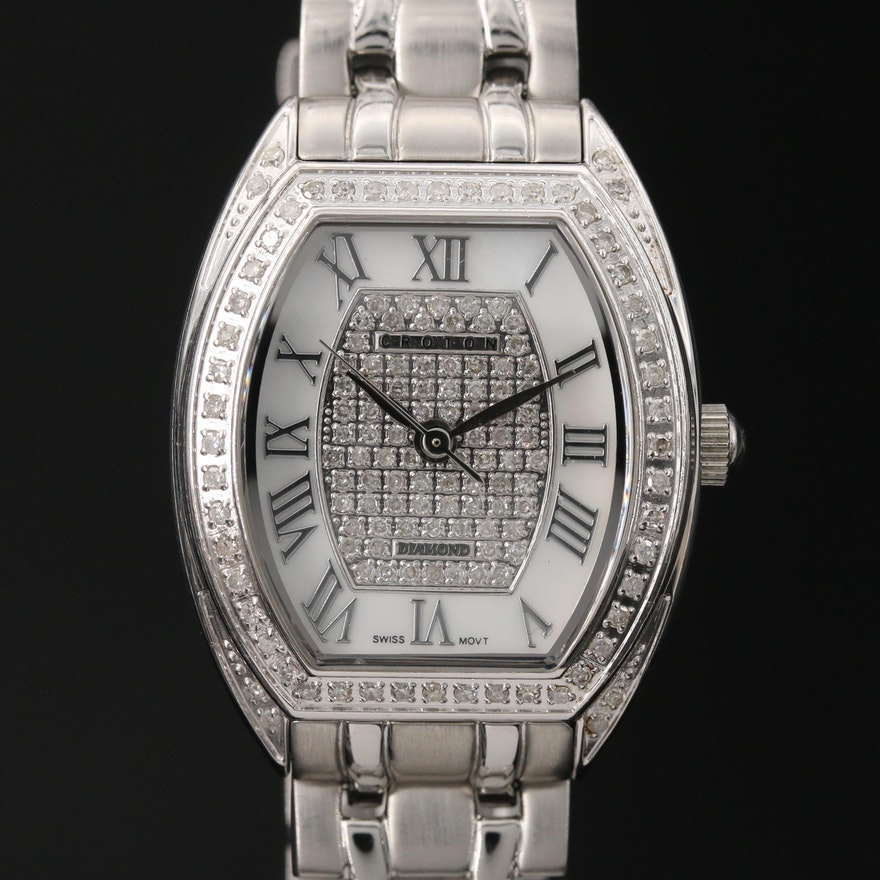 Diamond Croton Stainless Steel Quartz Wristwatch