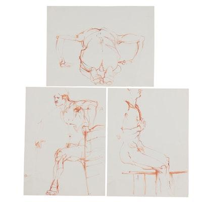John Tusk Figural Ink Drawings, Late 20th Century