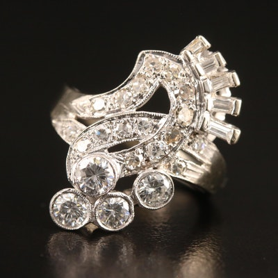 1940s Retro 14K 1.36 CTW Diamond Ring with Palladium Accent