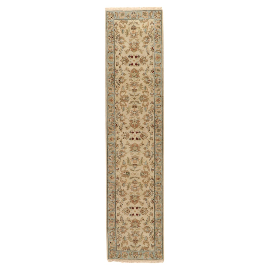 2'8 x 12' Hand-Knotted Indo-Turkish Oushak Carpet Runner, 2000s