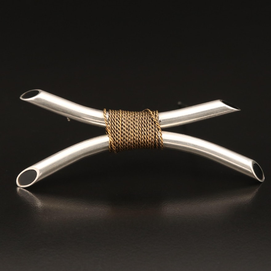 Sterling Silver Wrapped Tubular Brooch