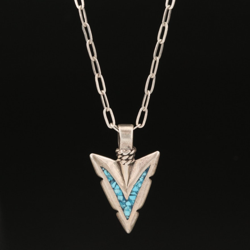 Western Style Sterling Silver Arrowhead Necklace with Turquoise Inlay