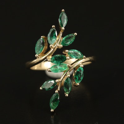 10K Emerald Foliate Bypass Ring