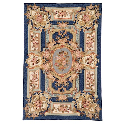 6'1 x 8'11 Handmade Sino-French Aubusson Style Needlepoint Area Rug