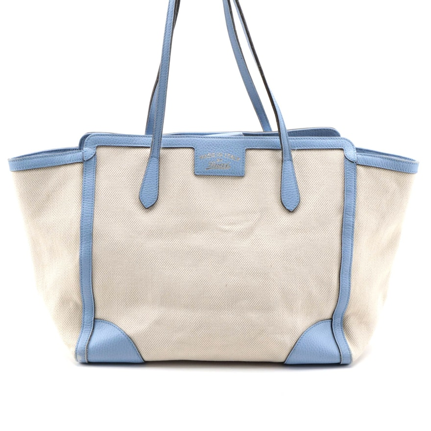Gucci Swing Tote in Ivory Canvas and Powder Blue Grained Leather Trim