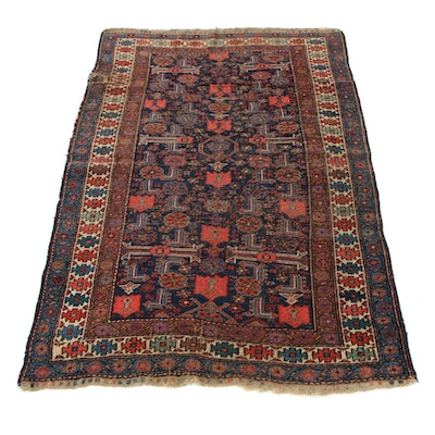 3'11 x 6' Hand-Knotted Persian Kurdish Bijar Area Rug, 1900s