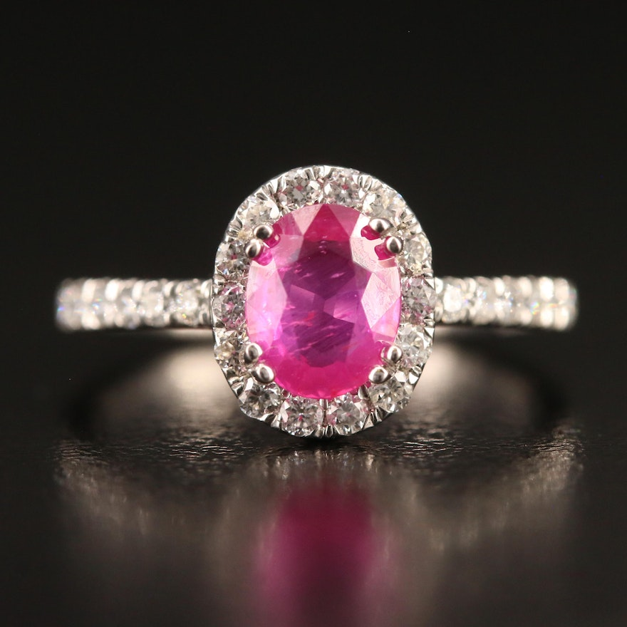 Platinum 1.15 CT Ruby and Diamond Ring with GIA Ruby Report