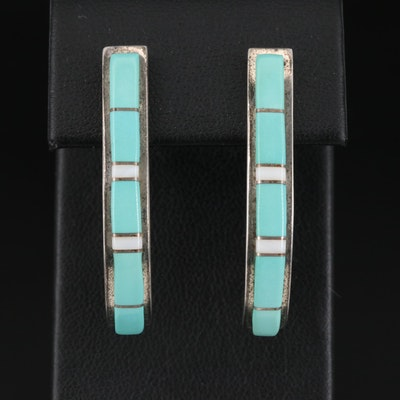 Signed Southwestern Style Sterling Silver Turquoise J-Hoop Earrings
