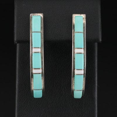 Signed Southwestern Style Sterling Silver Turquoise J-Hoop Earrings