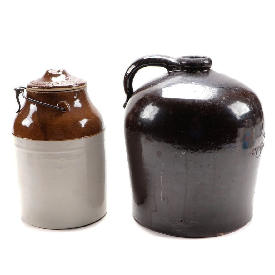 Western Stoneware Co. Crock with Other Stoneware Brown Jug