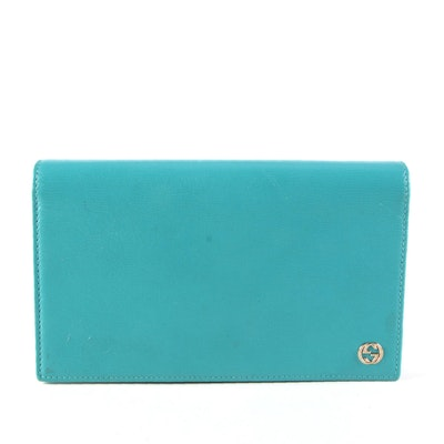 Gucci Betty Wallet on Chain in Turquoise Grained Leather