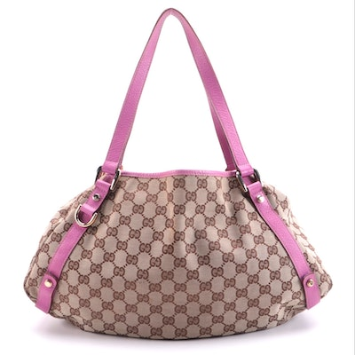 Gucci Abbey Shoulder Bag in GG Canvas and Pink Leather