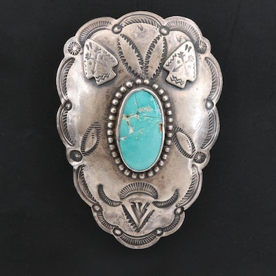 Sterling Silver and Turquoise Southwestern Style Stampwork Shoe Clip