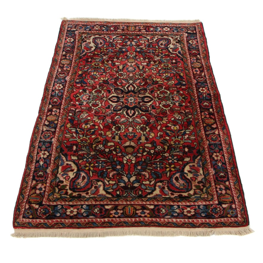 3'9 x 5'4 Hand-Knotted Persian Malayer Area Rug, 1920s