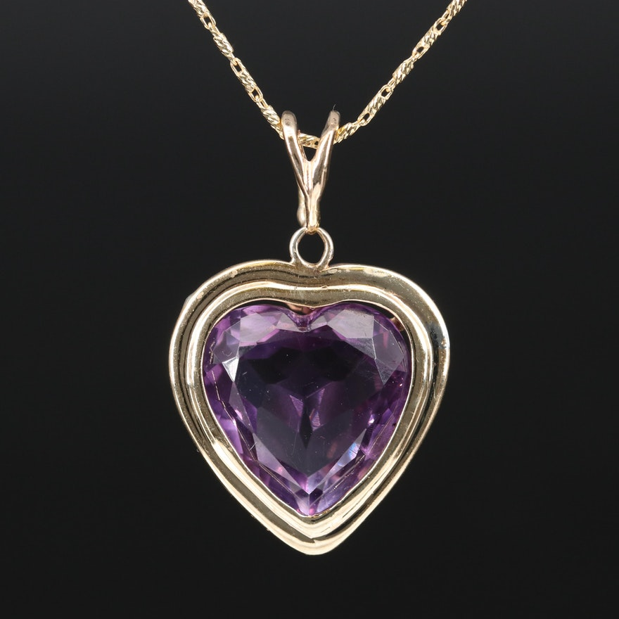 14K Amethyst Heart Necklace