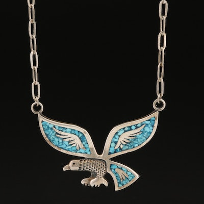 Southwestern Style Sterling Silver Turquoise Inlay Eagle Necklace