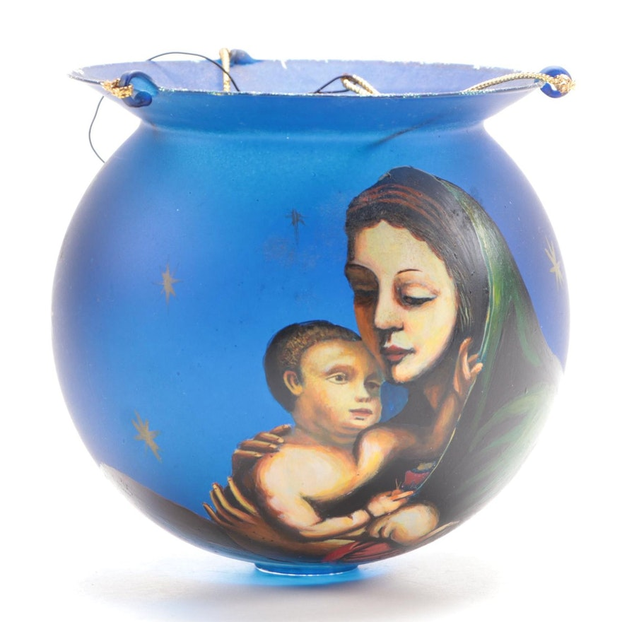 Madonna and Child Glass Ornament or Votive Holder, Late 20th to 21st Century