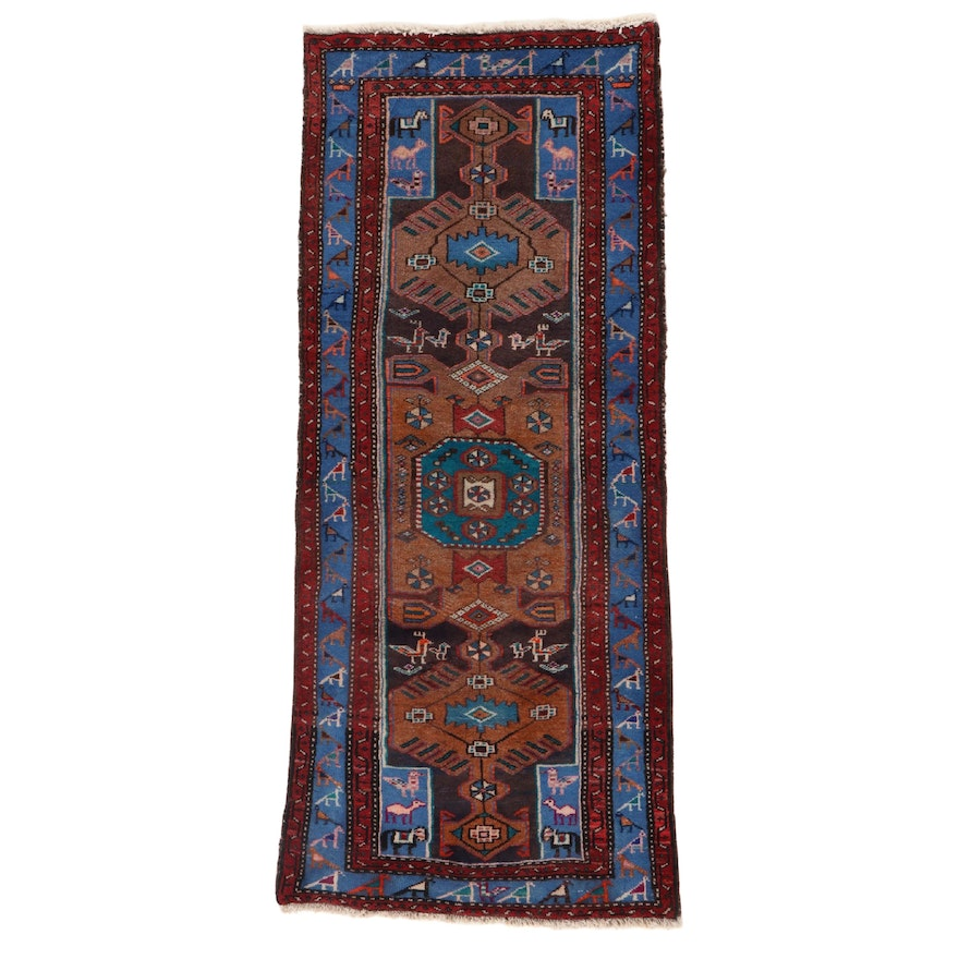 2'8 x 6'9 Hand-Knotted Northwest Persian Pictorial Carpet Runner, 1960s