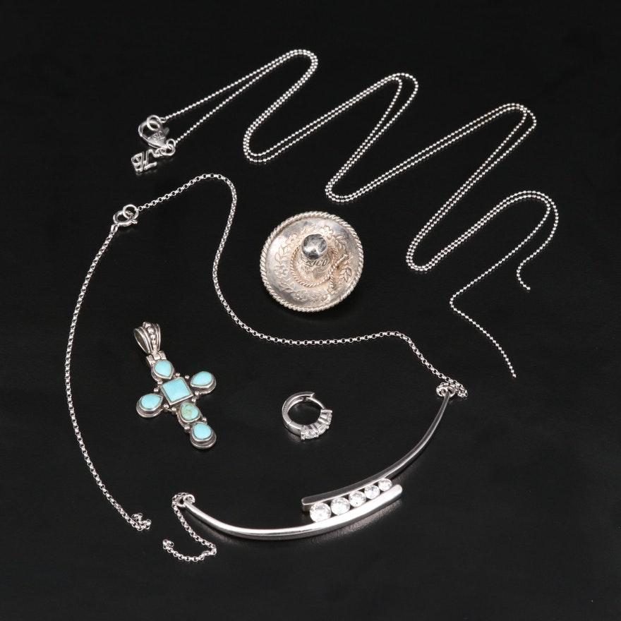 Sterling Jewelry Featuring Turquoise Cross Pendant and Sombrero Brooch