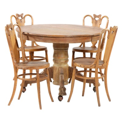 Late Victorian Oak Pedestal Dining Table with Bentwood Chairs, Early 20th C.